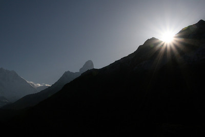 Sunrise from behind Ama Dablam