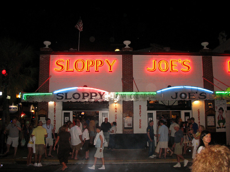 Hemingway's hangout, Sloppy Joe's at night during the Conch Republic parade.