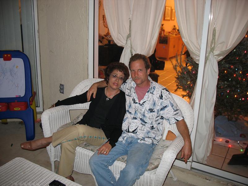 Julie & Mark on Cindy's patio. Florida. (2005)