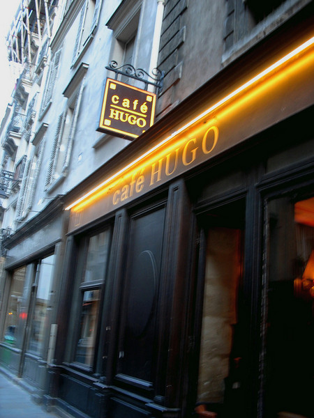 Cafe Hugo for dinner. Victor Hugo lived on the square for 16 years.