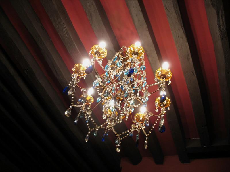 Maison de Lucie's sitting room chandelier.