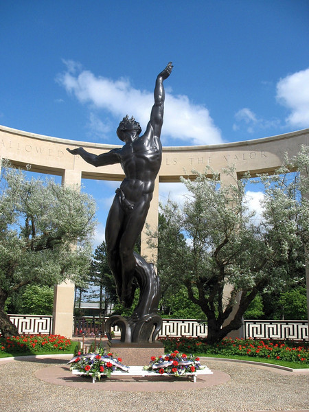 """Statue: """"Spirit of American Youth"""". The American cemetery at Colleville-sur-Mer overlooking Omaha Beach."""