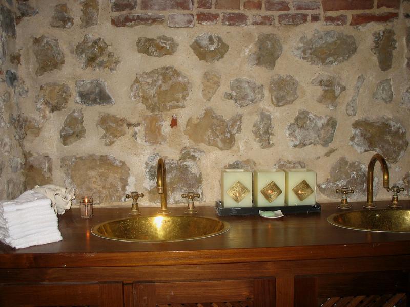 Steamroom sinks.