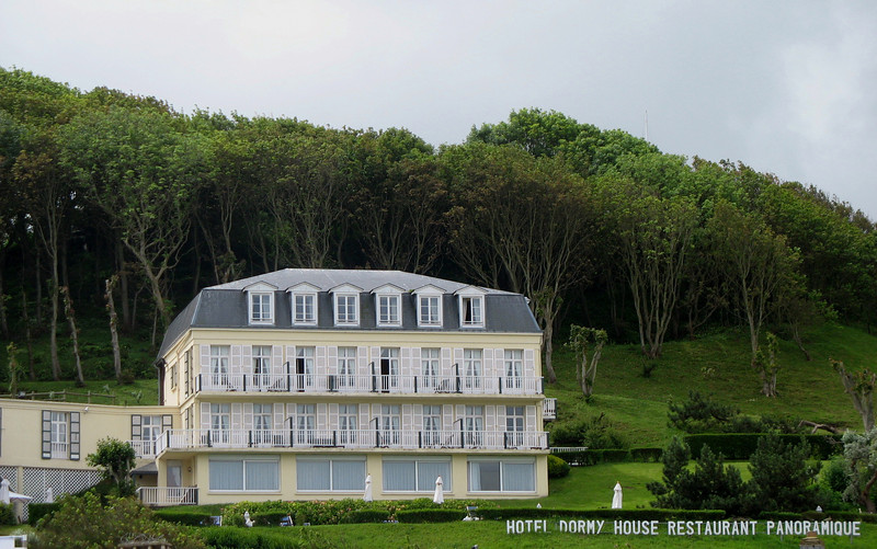 Dormy House sits high on the cliffs above the village of Etretat (population 1,600). A path leads down to the village, from where this photo was taken. Our room was in the front on the ground floor.