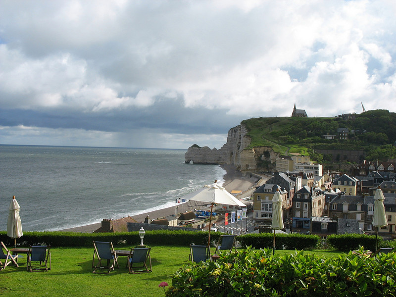 View of Etretat cliffs, church & village from Dormy House patio.