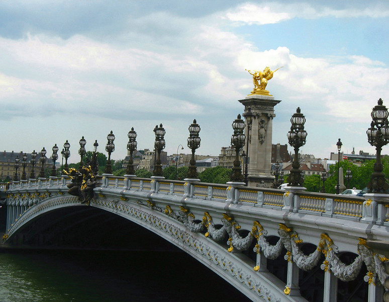 Pont Alexandre III. Named after Tsar Alexander lll  the bridge celebrates the ratification of the Russian-French alliance (1900)