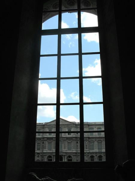Sky outside Louvre window.