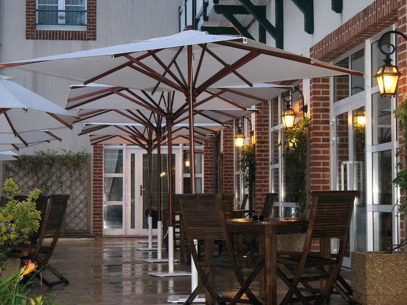 Dormy House patio in the rain.