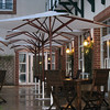 Dormy House patio in the rain.