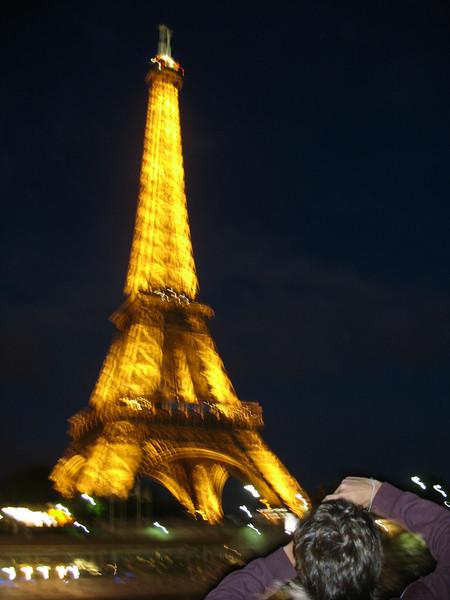 Eiffel Tower light show.