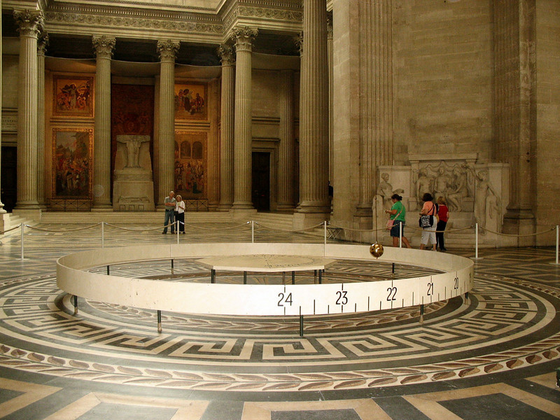 The pendulum Foucault used in 1851 to prove that the earth rotates. The demonstration was done here in the Pantheon.