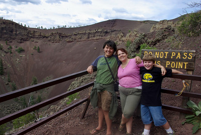 Lansing, Shelia, and Drew at the top of the Volcano