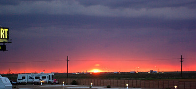 sunset at the RV park in Amarillo TX
