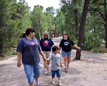 Sara, Graham, Rhonda, and Shelia heading off for the rim