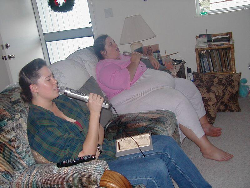 J and Aunt Marie singing Karaoke