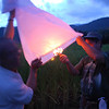 You light a small flare in the bottom to force the lantern to take shape.