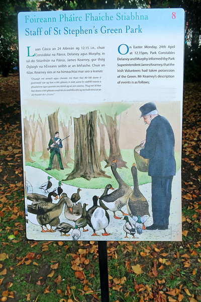Our visit begins with the Dublin park where a rebellion paused for a man and his lucky ducks.
