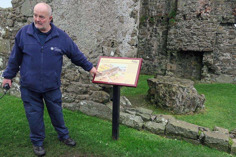 Dunclude Castle ruins in County Antrim with our local guide