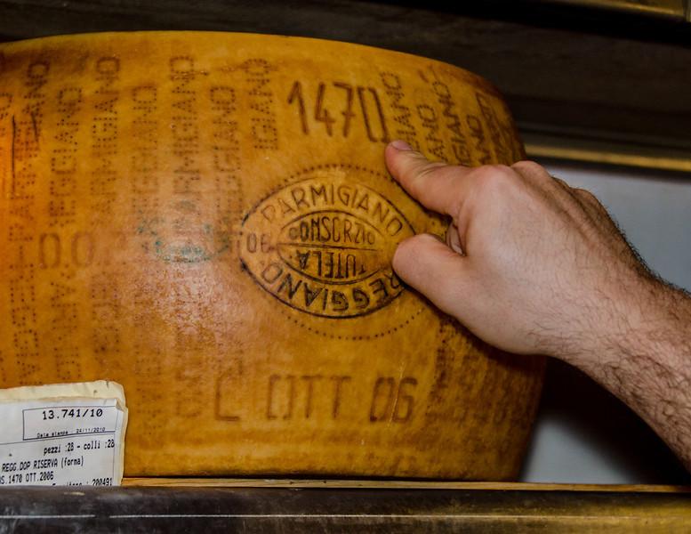 10-15-12 Luigi Guffanti cheese grottos.  According to Luigi, this is the very best Parmigiano made.