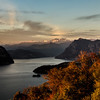 Sunset over Lake Iseo<br /> 10-16-12 Another shot from our balcony at I due Roccoli