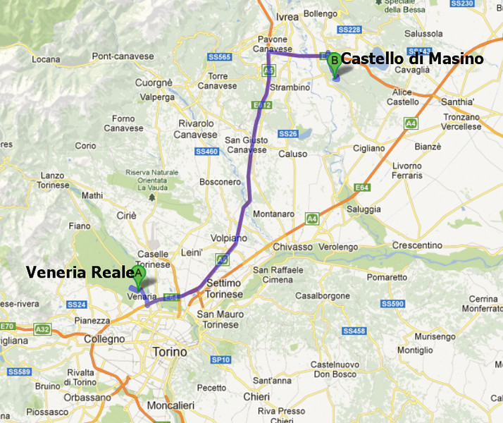 """10-14-12 - Leave Veneria Reale and head to Castello di Masino for a short walk and tour of the castle.<br /> <br /> Good website: <a href=""""http://www.friendsoffai.org/where-we-are_castello-di-masino.php#park"""">http://www.friendsoffai.org/where-we-are_castello-di-masino.php#park</a><br /> <br /> Image from Google Maps"""
