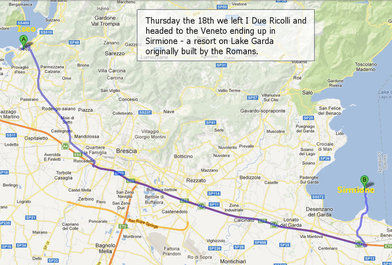 10-18-12: Leave I Due Riccoli and head to the Veneto and Sirmione on Lake Garda.<br /> <br /> Google Maps image.