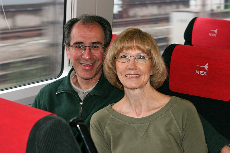Pam and I on the Narita Airport Express from Tokyo (Kind Japanese Businessman behind the camera)!