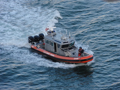 Armed escort to sea, courtesy of the U.S. Coast Guard!
