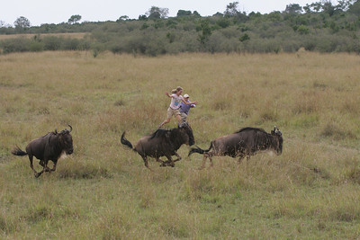Elaine and Sara chasing the Wildebeest