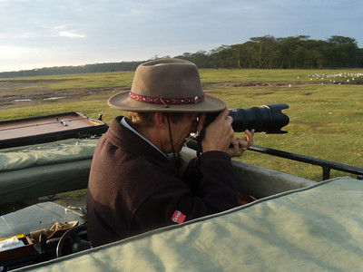 John photographing on Lake Nakuru