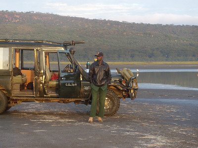 One of our spotters, Ali, in the morning at Lake Nakuru