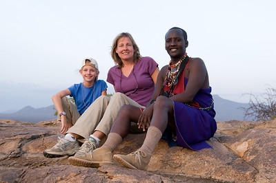 Sara, Stephanie, and Winston a Samburu Warrior