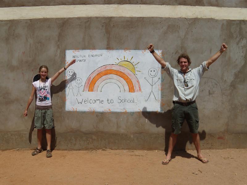 Elaine and Tony outside the Samburu school