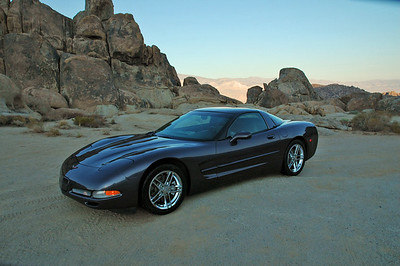 Vette in Alabama Hills area outside of Lone Pine, CA. Many western movies were filmed here (and still are).