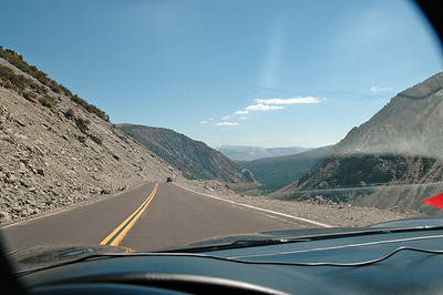 Heading east along Tioga Pass. Pray for no earthquakes.  There isn't any guardrail and it's a long drop to the bottom.