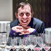 Simon with his array of wine glasses from the pairings at Guy Savoy. It's quite the collection.