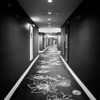 Gently curving corridor on the guest floors at Wynn.
