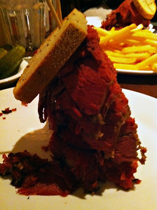 Carnegie Deli, Woody Allen, corned beef and pastrami sandwich.  At the Mirage