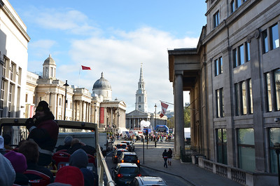 Nearing Trafalgar Square, where the NFL Fan Rally was being held.