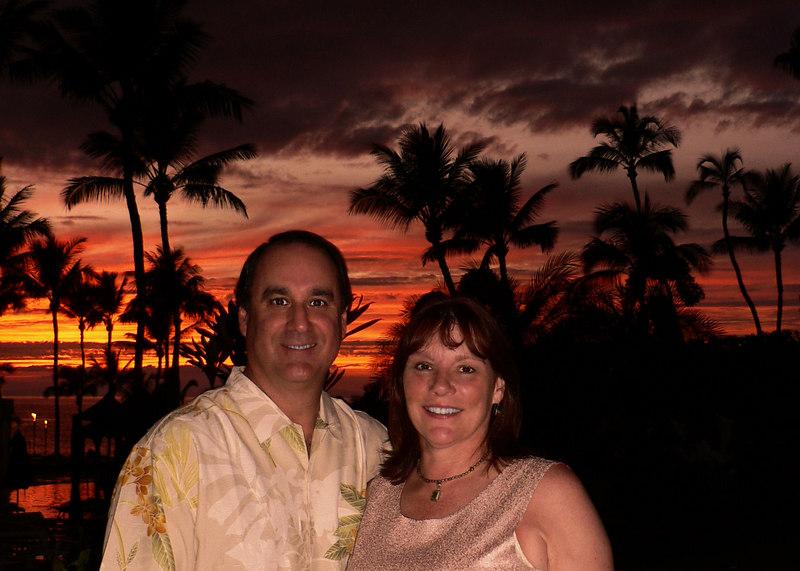 Sat 06-08-26 Steve and I - great sunset shot at Nicks in the Kea Lani hotel