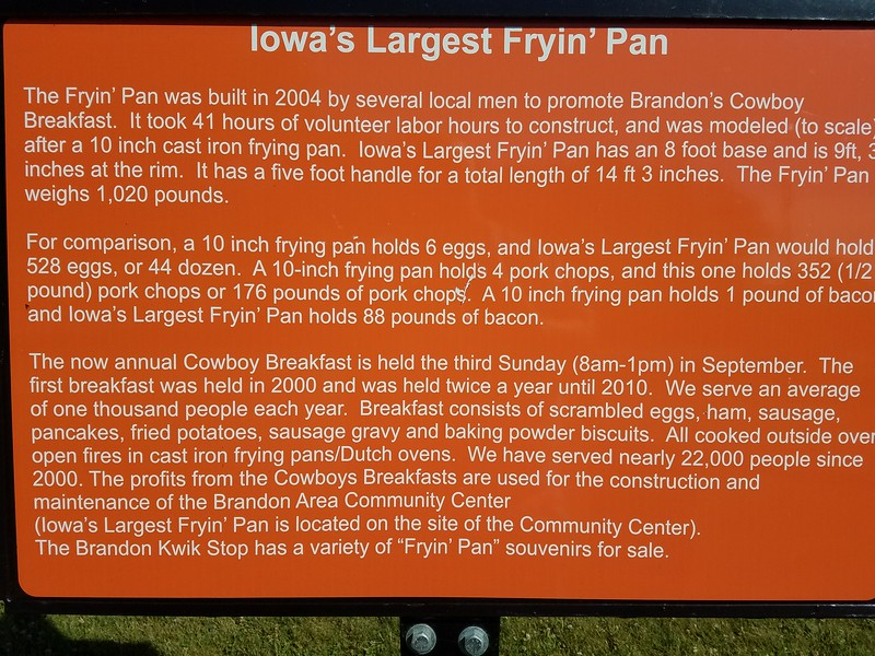Iowa's Largest Fryin' Pan - Brandon, Iowa