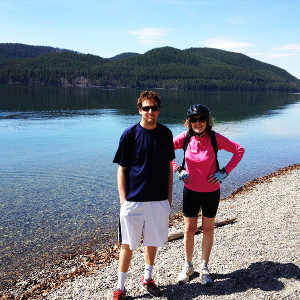 On Tuesday afternoon we rented bikes and did a ride around Whitefish. We stopped at Les Mason state park and walked down to Whitefish lake.