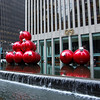 Huge xmas balls in the fountain.