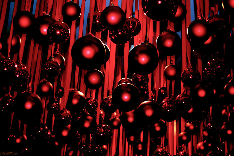 Hundreds of Xmas balls hanging from the ceiling in Macy's xmas store