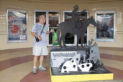 Outside the UFO Museum, debris field display