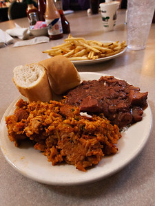 Jumbalaya, red beans and rice and fried at Mother's