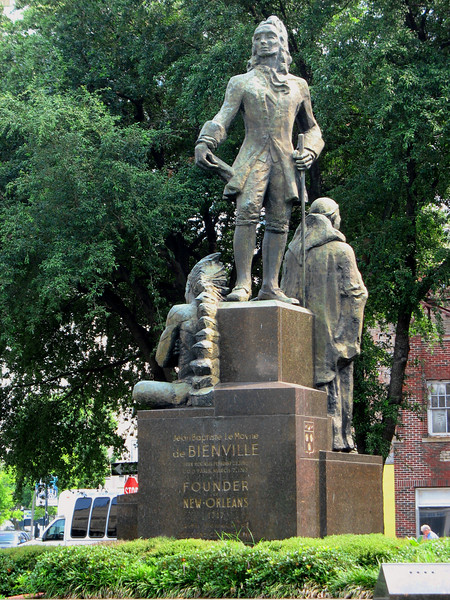 Monument to Bienville, founder of New Orleans and French Governor of Louisiana.
