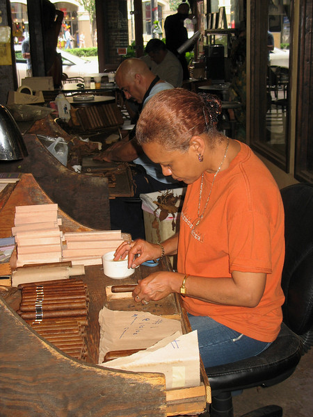 Each cigar roller at this factory makes about 200 cigars a day.
