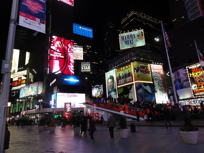 Times Square on an early Sunday night.