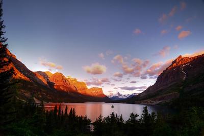 Sunrise at Lake St. Mary